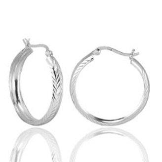 Серьги-кольца серебро 925 ручной работы (диаметр 27 мм)