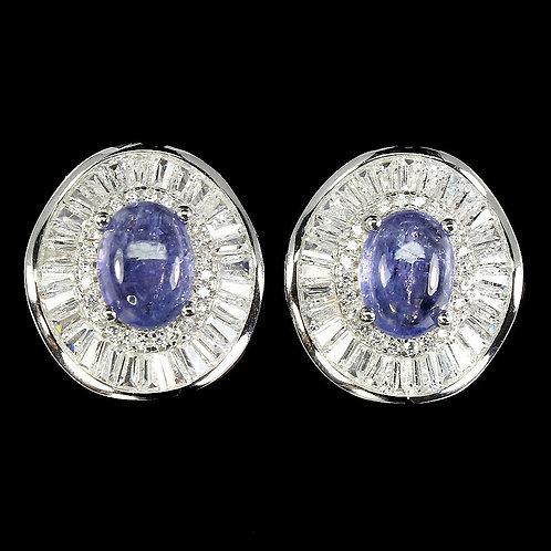Серьги серебро 925 ручной работы с танзанитом натуральным арт.103009