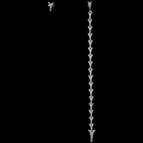 Серьги ассиметричные серебро 925 ручной работы с фианитом