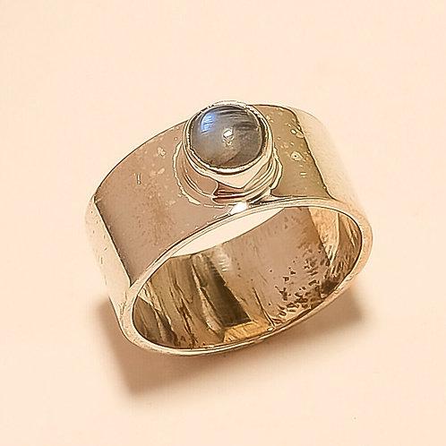 Кольцо серебро 925 ручной работы c лунным камнем натур арт.102218-12