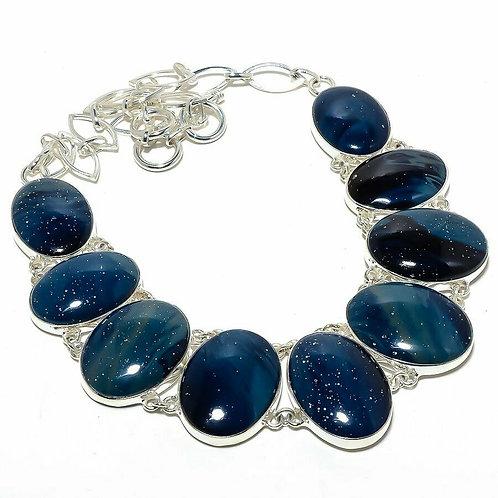 Ожерелье серебро 925 ручной работы с медно-синим шлаком натур (45 см) арт.103064