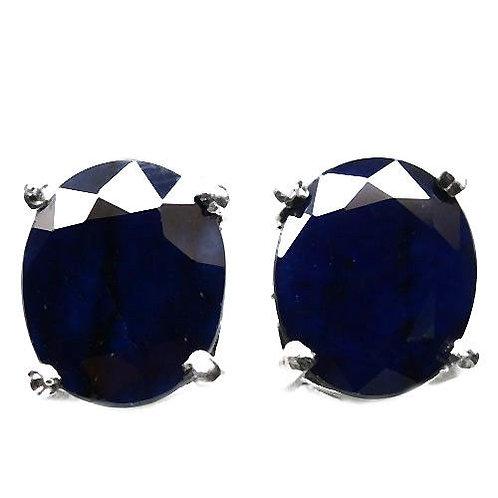 Серьги серебро 925 c темно-синим сапфиром 10 мм арт.100464-7