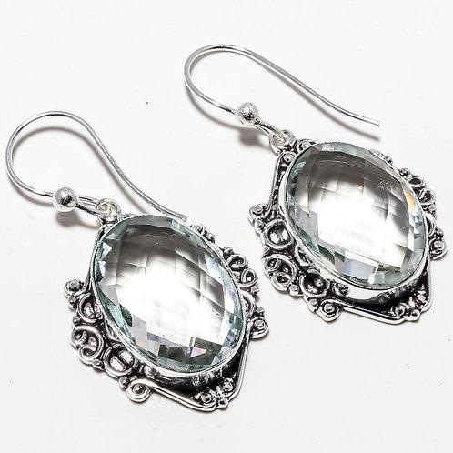 Серьги винтажные серебро 925 с граненым белым топазом нат. арт.100314-6