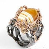 Кольцо серебро 925 ручной работы с агатом натур арт.01009-16