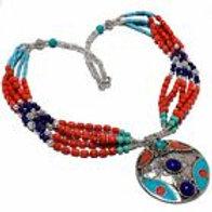 Ожерелье тибетское серебро ручной работы с кораллом, бирюзой, лазурит арт.102715
