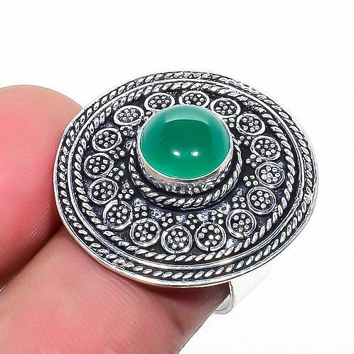 Кольцо винтажное серебро 925 ручной работы c зеленым ониксом натур арт 101031-55