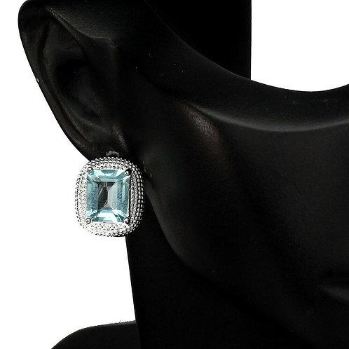 Серьги серебро 925 ручной работы c топазом натуральным 10х8 мм