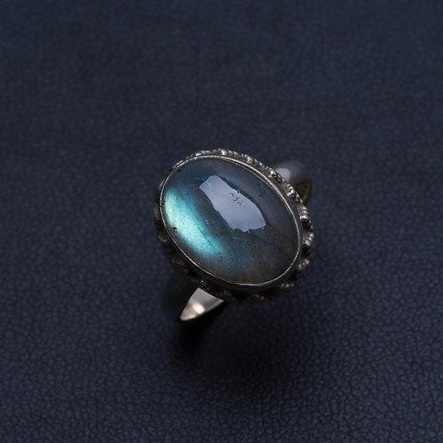 Кольцо серебро 925 ручной работы с огненно-синим лабрадоритом нат.арт.200063-51