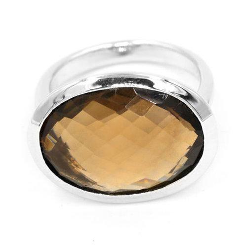 Кольцо серебро 925 ручной работы с дымчатым кварцем натуральным  арт.000892-32