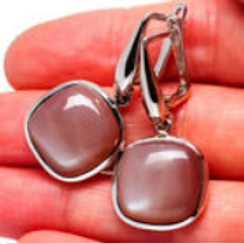 Серьги серебро 925 ручной работы с шоколадным лунным камнем натур арт.102257