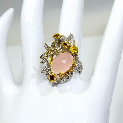 Кольцо серебро 925 с кварцем розовым и гранатом нат. арт.000737-48