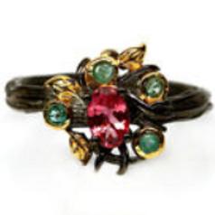 Кольцо серебряное с турмалином,изумрудом натуральными арт.102654