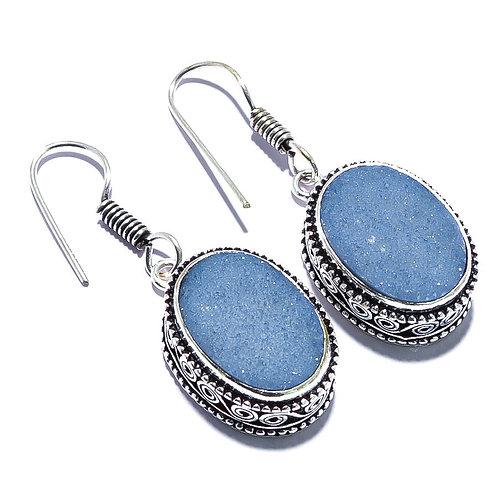 Серьги серебро 925 ручной работы с синим титаном друзой натур.арт.100912-66