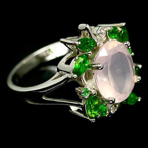 Кольцо серебро 925 с кварцем розовым нат.арт.000716-48