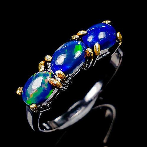 Кольцо серебро 925 ручной работы с синим опалом натуральным (р.17.3) арт.102836