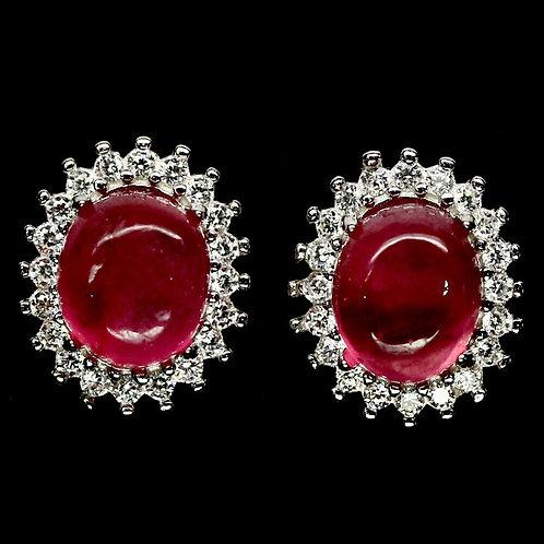 Серьги серебро 925 ручной работы с розовым рубином натуральным арт.102182