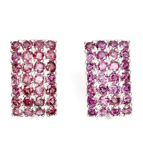 Серьги серебро 925 ручной работы с розово-малиновым родолитом натуральным 3 мм