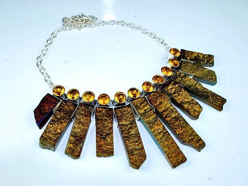 Ожерелье серебро 925 ручной работы с друзой агата и цитрином натуральными