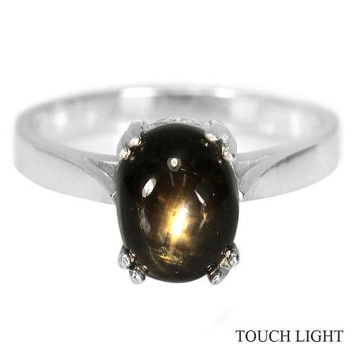 Кольцо серебро 925 ручной работы с черным звездчатым сапфиром нат. 9х7 мм р.17.3