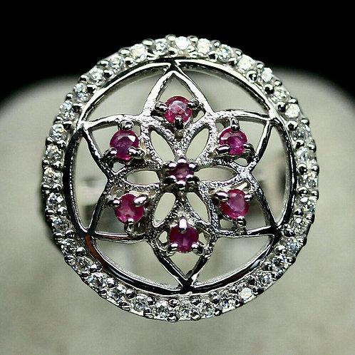Кольцо серебро 925 ручной работы с розовым рубином натур 2 мм . арт 101218-5