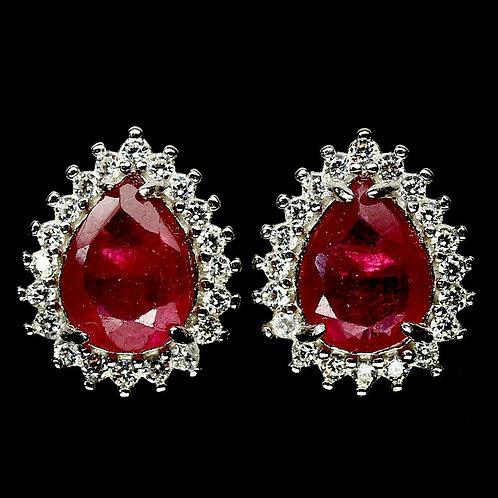 Серьги серебро 925 ручной работы с розовым рубином натуральным арт.102481