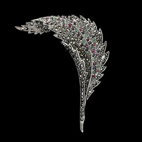 Брошь серебро 925 ручной работы с разными натуральными камнями арт.102619
