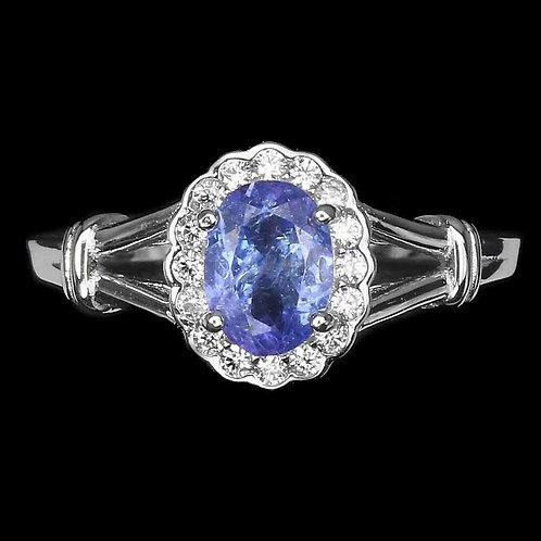 Кольцо серебро 925 ручной работы с синим танзанитом натурал. (р.18.2) арт.102995