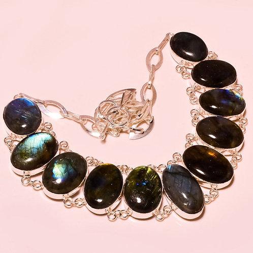 Ожерелье серебро 925 ручной работы c лабрадоритом натуральным (45 см)