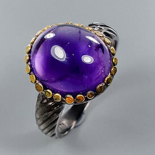Кольцо серебро 925 ручной работы с аметистом натуральным (р.18.2) арт.103202