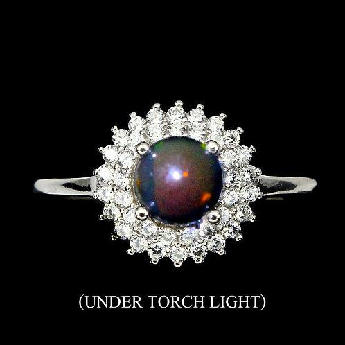 Кольцо серебро 925 ручной работы с черным радужным опалом нат. р.16.5 арт.102296