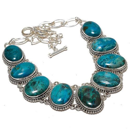 Ожерелье серебро 925 ручной работы с хризоколлой натуральной (45 см)