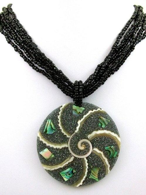 Ожерелье ручной работы глаз Шива с раковиной Абалон натуральной арт.102534