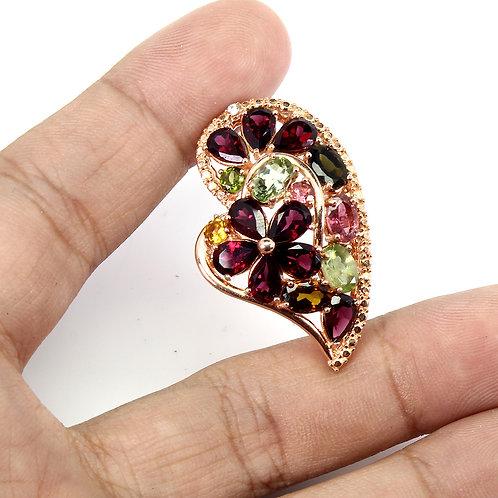 Серебряная брошь  с турмалином сердце