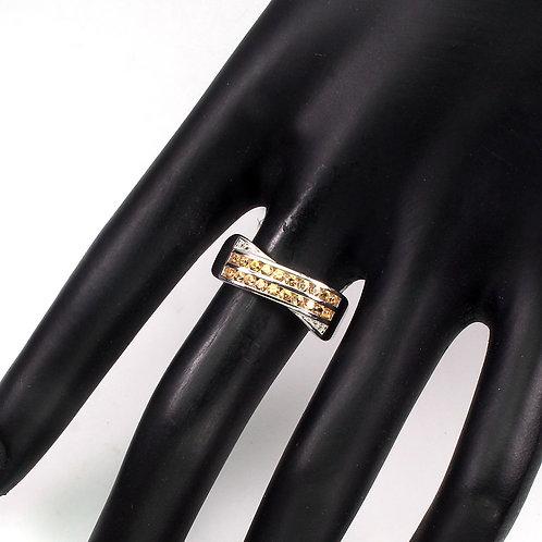 Кольцо серебро 925 ручной работы с желтым сапфиром натуральным 2 мм (р.18.2)