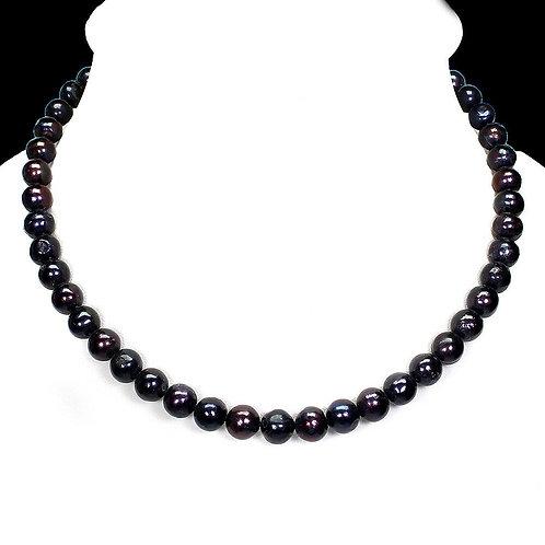 Ожерелье серебро 925 ручной работы с барочным черным жемчугом натур. арт.102453