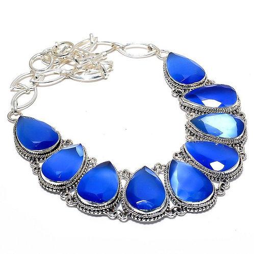 Ожерелье серебро 925 ручной работы с синей огненной Мона Лизой натурал. (45 см)