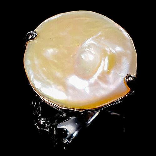Кольцо серебро 925 ручной работы с барочным жемчугом натур. (р.18.5) арт.103189