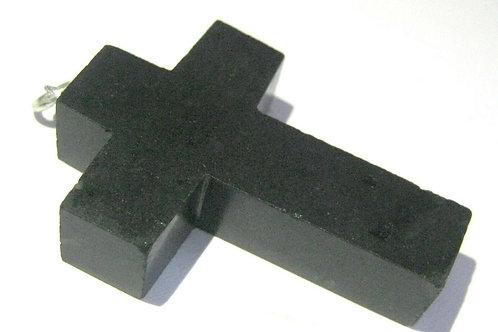 Подвеска-крест с черным турмалином натуральным арт.102299