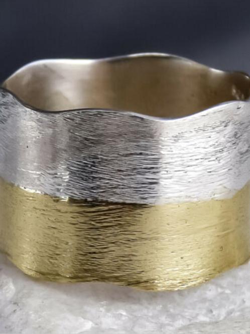 Кольцо серебро 925 ручной работы 2 тона (16,5;17)