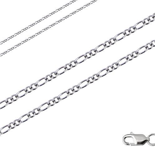 Цепочка фигаро 3+1 с алмазной гранью серебро 925
