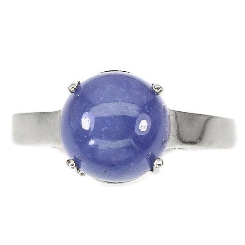 Кольцо серебро 925 ручной работы с танзанитом натуральным (р.18.2) арт.102888