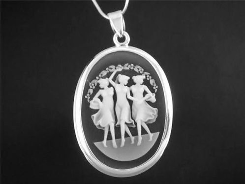 Подвеска винтаж серебро 925 с три полуграции арт.001290-50