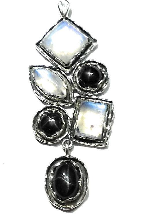 Подвеска серебро 925 ручной работы с черной звездой и лунным кам арт.102047-21