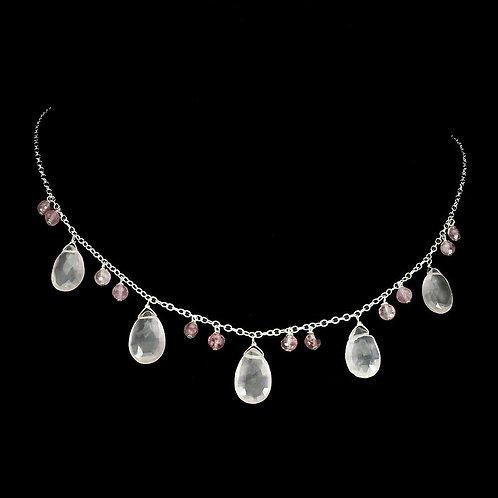 Ожерелье серебро 925 ручной работы с розовым кварцем натуральным арт.102091
