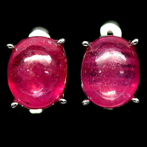 Серьги серебро 925 ручной работы с розовым рубином натуральным арт.102784