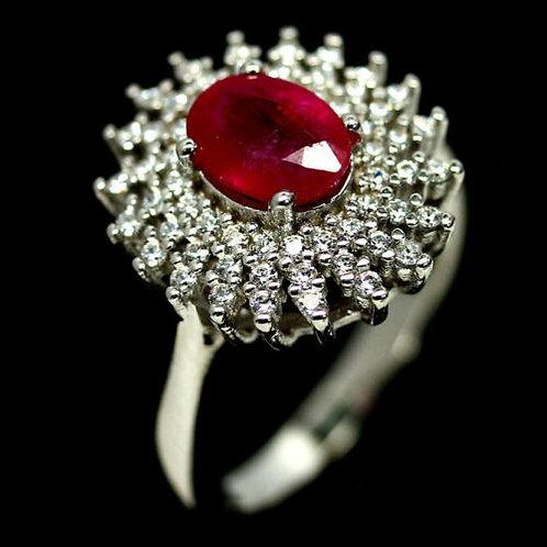 Кольцо серебро 925 ручной работы с розовым рубином натурал. (р.17.5) арт.102865