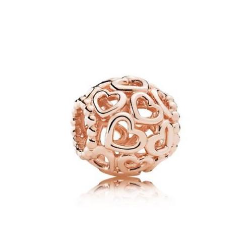 Ажурный шарм ювелирный сплав PANDORA Rose с сердцами (оригинал)