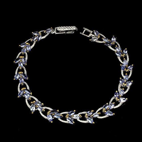 Браслет серебро 925 ручной работы с синим танзанитом натуральным арт.102443