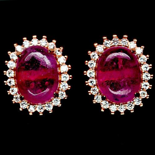 Серьги серебро 925 ручной работы с розовым рубином натуральным 9х7 мм арт.102322