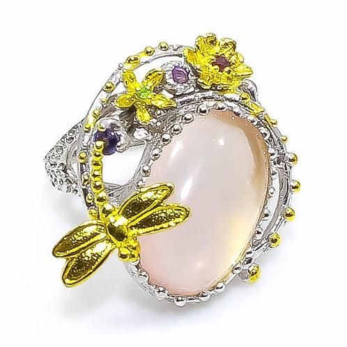 Кольцо серебро 925 ручной работы с кварцем розовым нат.арт.000736-48